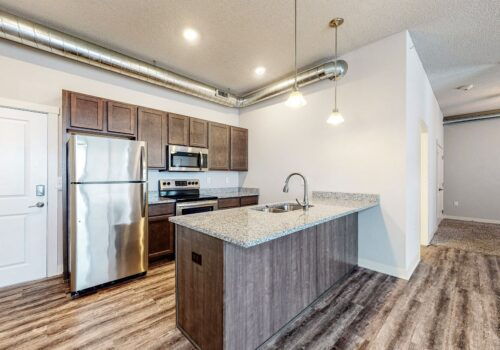 Uptown Lofts Open Kitchen with counter-height seating possible