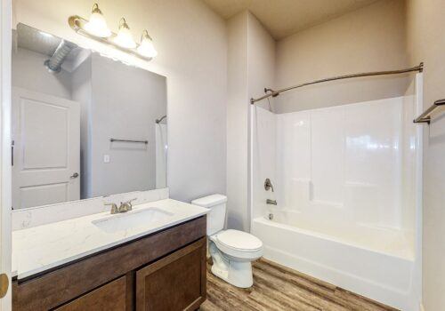 uptown lofts bathroom from doorway showing counter with sink, toilet, tub-shower