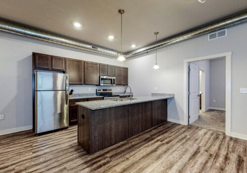 uptow n lofts kitchen from living area