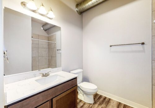 uptown lofts main bathroom looking at counter and toilet