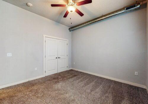 uptown lofts bedroom looking at closet doors